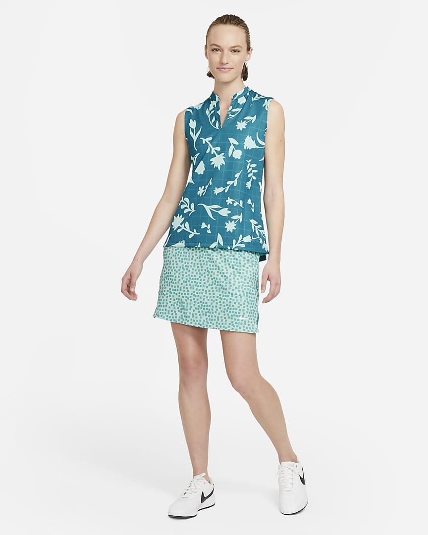 Nike Breathe Women\'s Sleeveless Printed Golf Polo Blustery/Light Dew