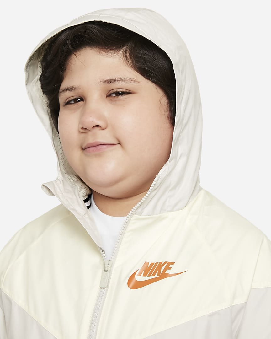 Nike Sportswear Windrunner Big Kids\' (Boys\') Jacket (Extended Size) Light Bone/Cashmere/Light Bone/Dark Russet