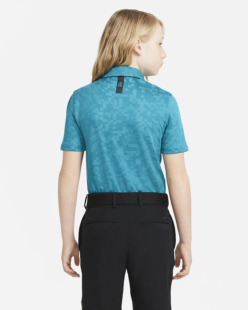 Nike Dri-FIT Tiger Woods Big Kids\' (Boys\') Printed Golf Polo Blustery/Aquamarine