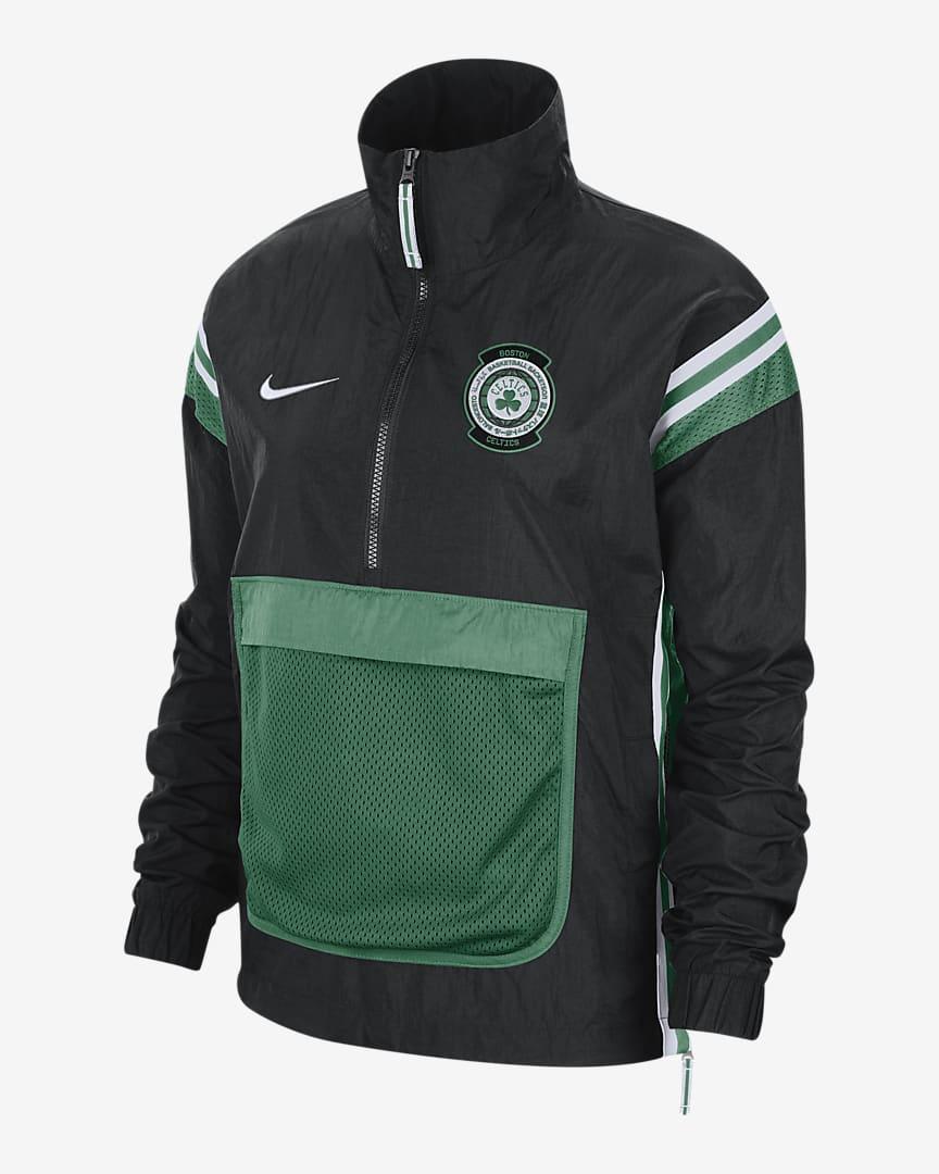 Celtics Courtside Women\'s Nike NBA Tracksuit Jacket Black/White/Clover