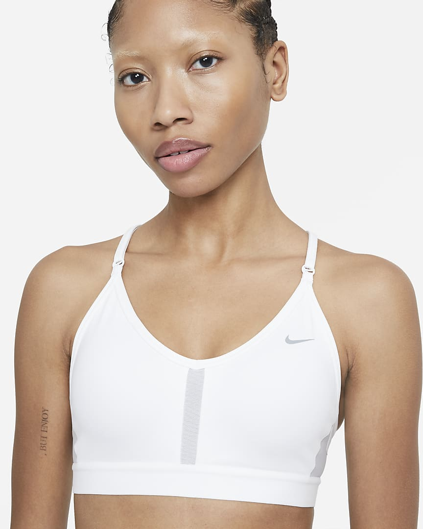 Nike Dri-FIT Indy Women\'s Light-Support Padded V-Neck Sports Bra White/Grey Fog/Particle Grey