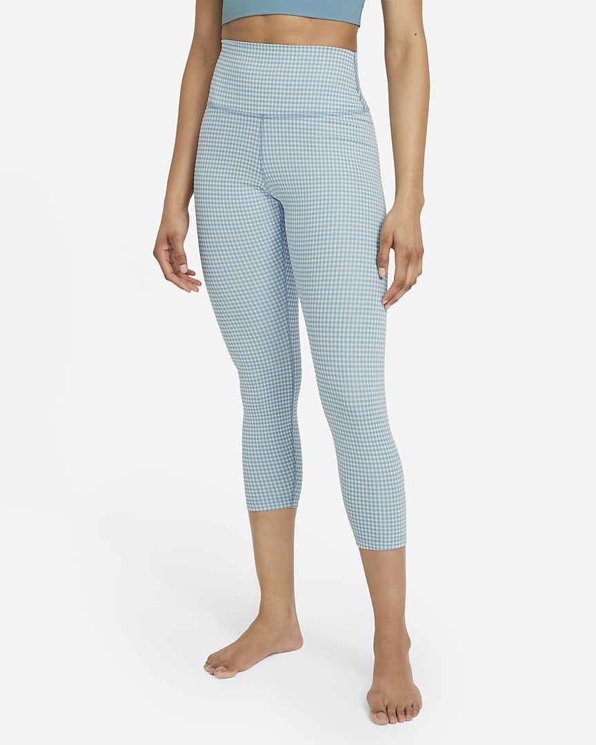 Nike Yoga High-Waisted Crop Gingham Women's Leggings