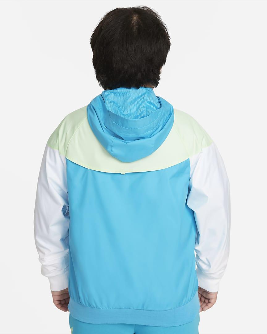 Nike Sportswear Windrunner Big Kids\' (Boys\') Jacket (Extended Size) Chlorine Blue/Lime Ice/White/White