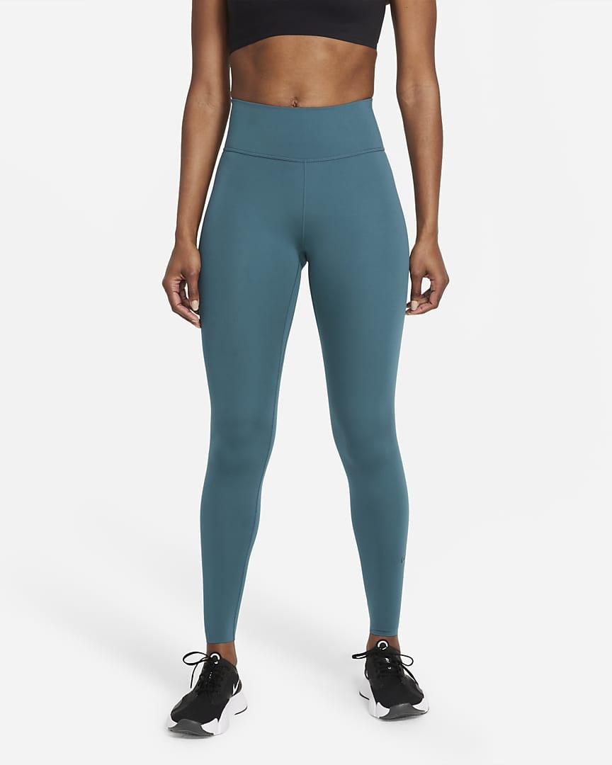Nike One Luxe Women\'s Mid-Rise Leggings Dark Teal Green/Clear