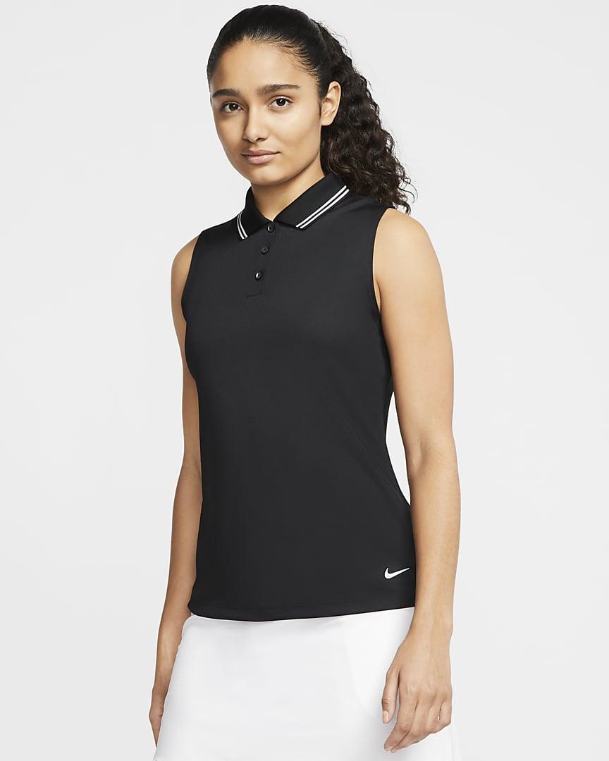 Nike Dri-FIT Victory Women's Sleeveless Golf Polo Black/White/White