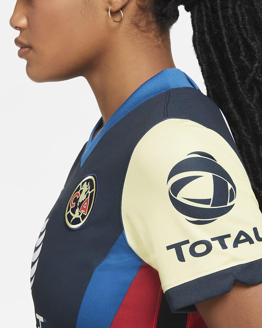 Club América 2020/21 Stadium Home Women\'s Soccer Jersey Lemon Chiffon/White/Industrial Blue/Lemon Chiffon