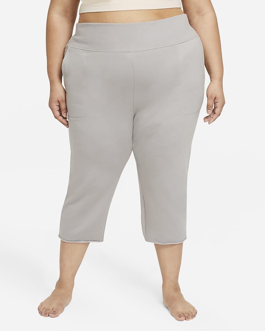 Nike Yoga Luxe Women\'s Cropped Fleece Pants (Plus Size) College Grey/Platinum Tint