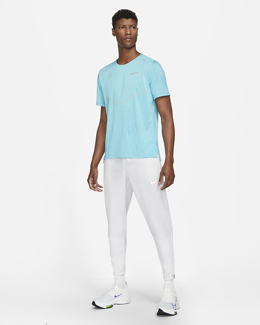 Nike Dri-FIT Rise 365 Men\'s Short-Sleeve Running Top Chlorine Blue/Heather