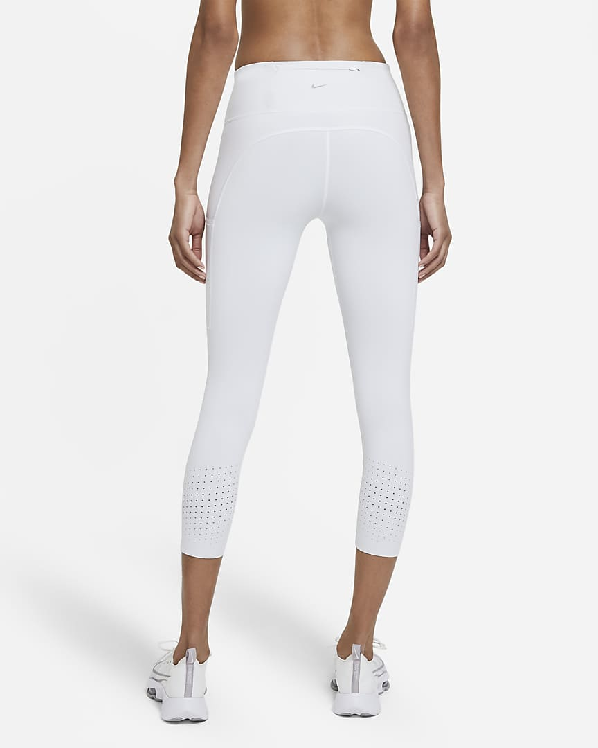 Nike Epic Luxe Women\'s Mid-Rise Crop Pocket Running Leggings Pure Platinum/Light Smoke Grey