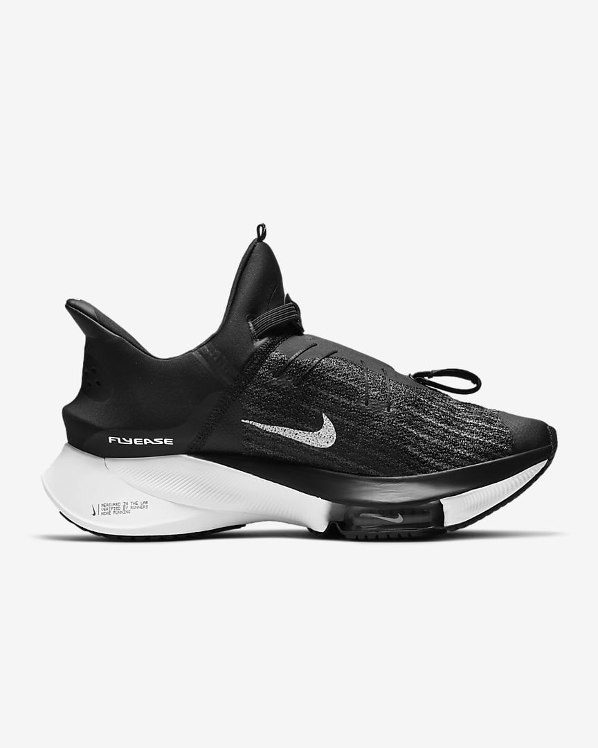 Nike Air Zoom Tempo NEXT% FlyEase Men\'s Easy On/Off Road Running Shoes Black/White/Black/White