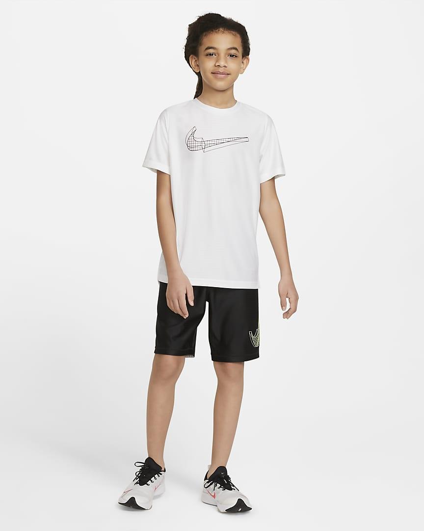 Nike Big Kids\' (Boys\') Graphic Short-Sleeve Training Top White