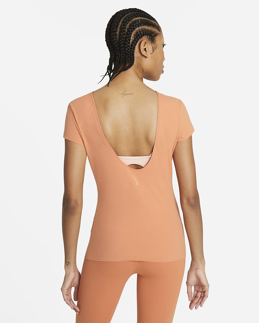 Nike Yoga Luxe Women\'s Short Sleeve Top Healing Orange/Apricot Agate