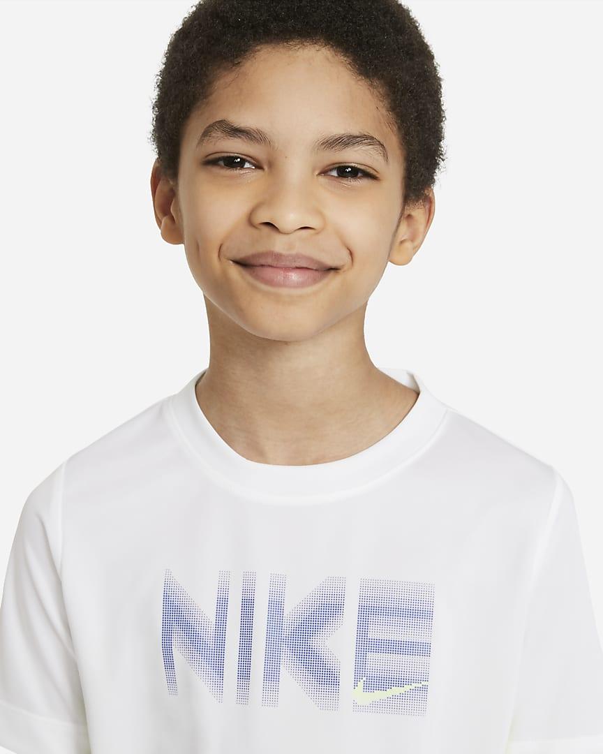 Nike Trophy Big Kids\' (Boys\') Short-Sleeve Graphic Top White/Volt/Game Royal/Volt
