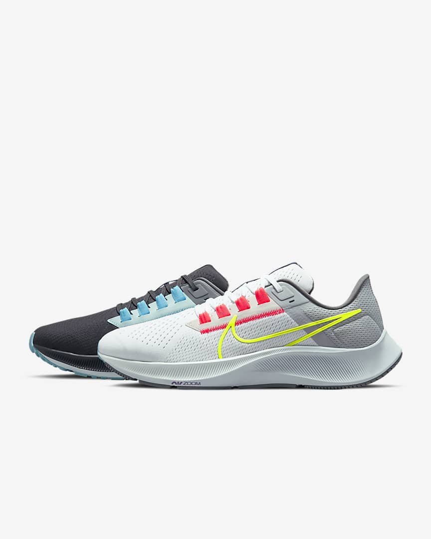 Nike Air Zoom Pegasus 38 Limited Edition Men\'s Road Running Shoes Dark Smoke Grey/White/Flash Crimson/Volt