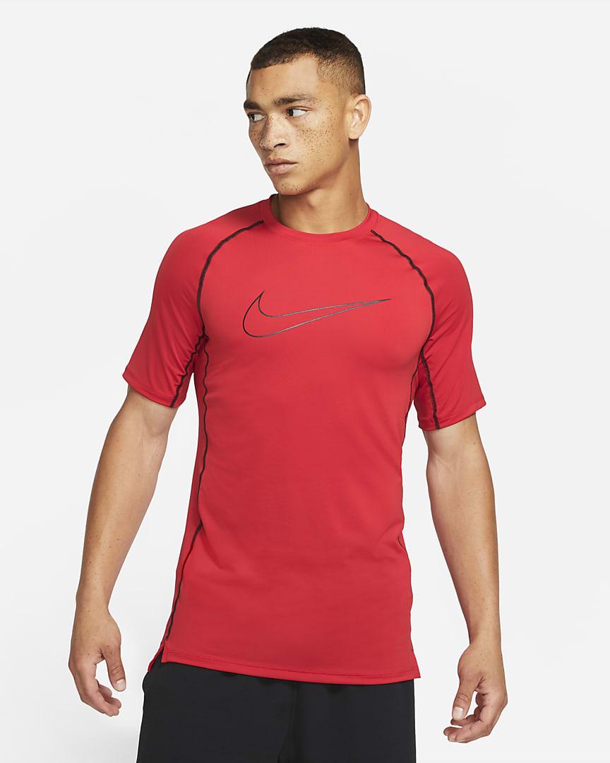 Nike Pro Dri-FIT Men\'s Slim Fit Short-Sleeve Top University Red/Black/Black