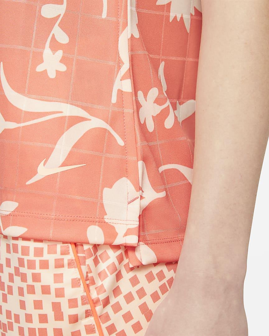 Nike Breathe Women\'s Sleeveless Printed Golf Polo Crimson Bliss/Crimson Tint