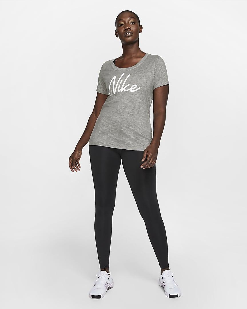 Nike Dri-FIT Women\'s Logo Training T-Shirt Dark Grey Heather/Heather/White