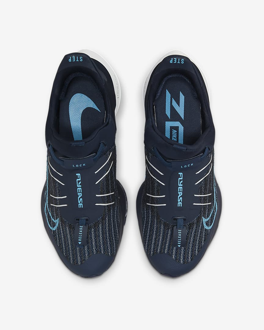 Nike Air Zoom Tempo NEXT% FlyEase Men\'s Easy On/Off Road Running Shoes College Navy/Pure Platinum/Lagoon Pulse/Chlorine Blue