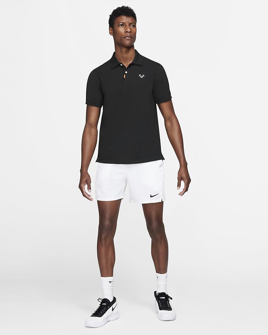 The Nike Polo Rafa Men\'s Slim Fit Polo Black/White/Black