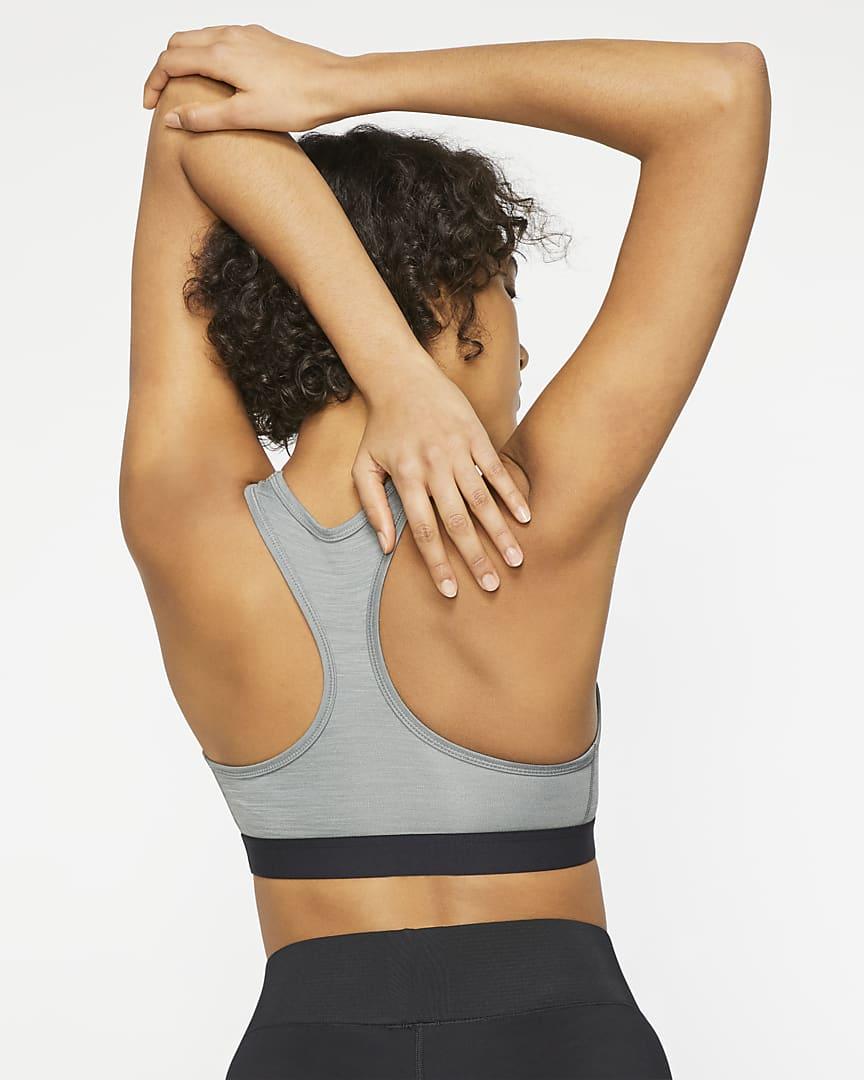 Nike Dri-FIT Swoosh Women\'s Medium-Support Non-Padded Sports Bra Smoke Grey/Pure/Black