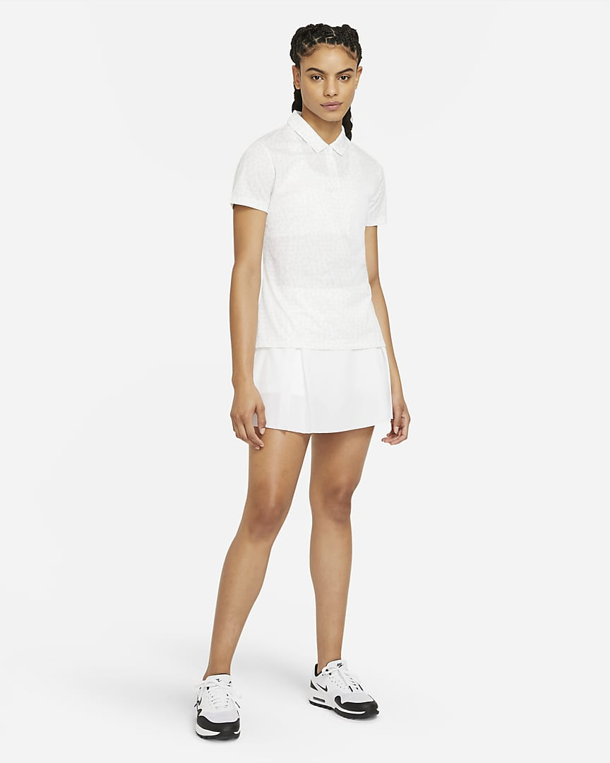 Nike Dri-FIT Women\'s Printed Golf Polo White/Black