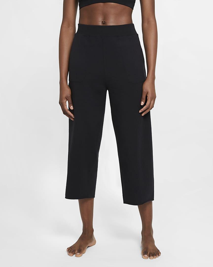 Nike Yoga Luxe Women\'s Cropped Fleece Pants Black/Dark Smoke Grey