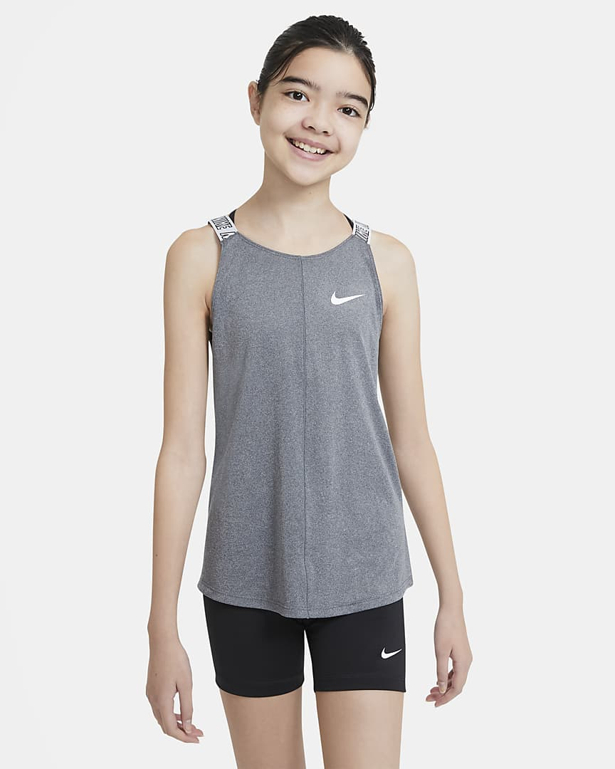 Nike Dri-FIT Big Kids\' (Girls\') Training Tank Black Heather/White
