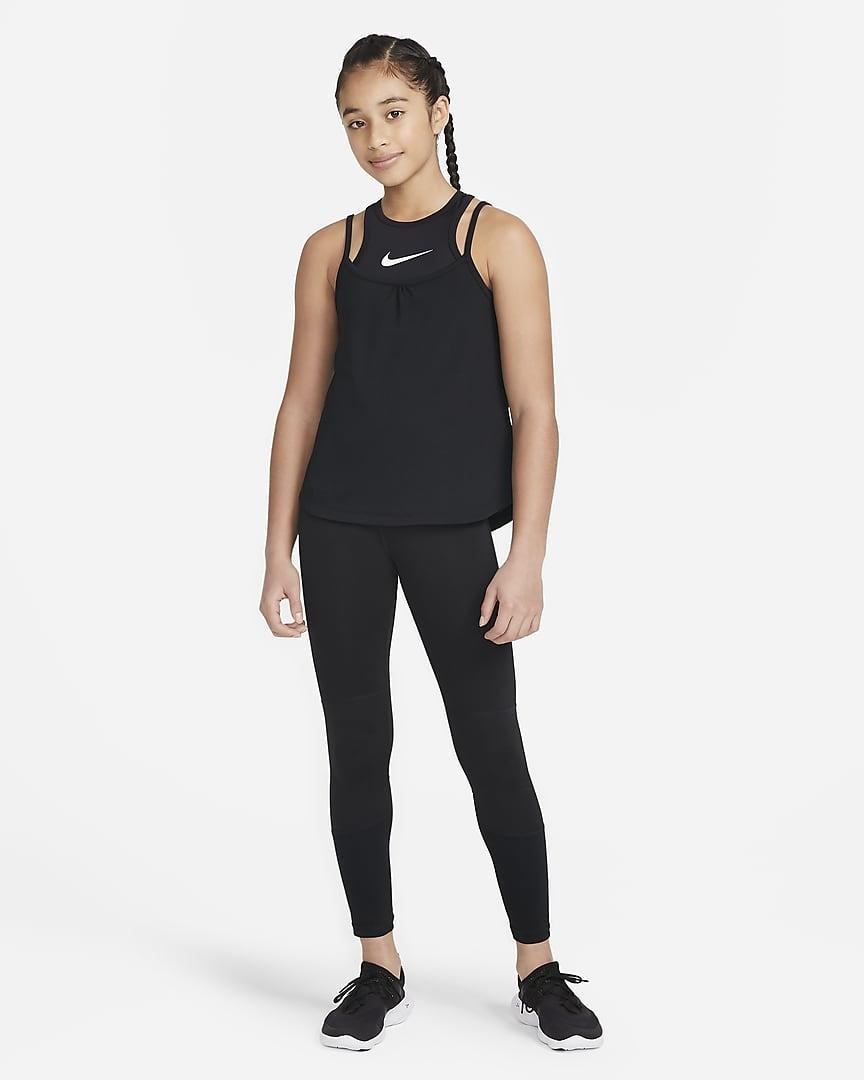 Nike Dri-FIT Big Kids\' (Girls\') 2-in-1 Training Tank Black/Black/White
