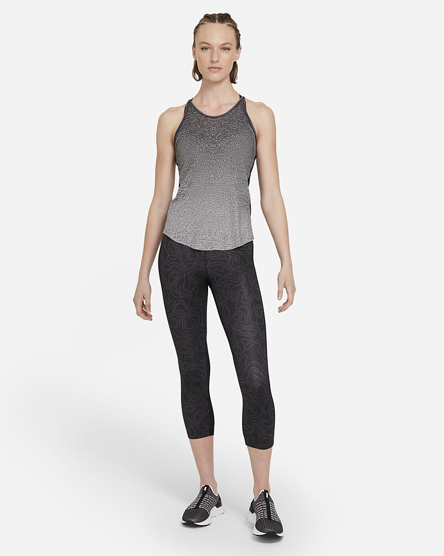 Nike Run Division Women\'s Engineered Running Tank Black/White/Black