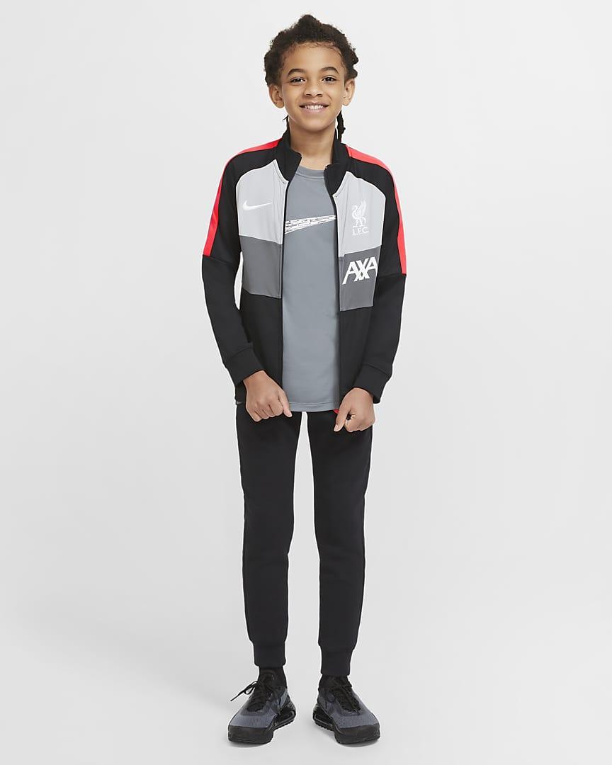 Liverpool FC Big Kids\' Soccer Track Jacket Black/White