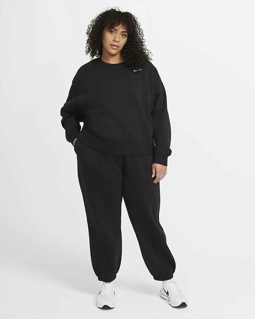 Nike Sportswear Trend Women\'s Fleece Pants (Plus Size) Black/White