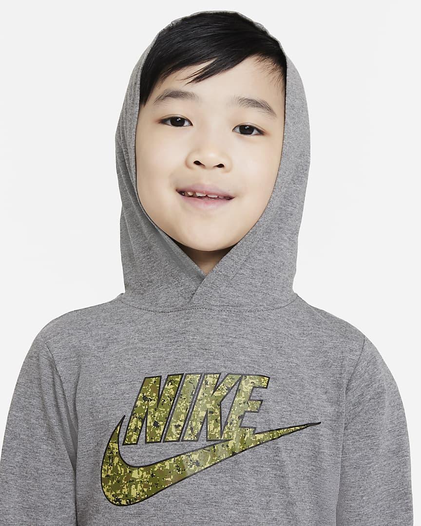 Nike Little Kids\' Hooded T-Shirt Carbon Heather