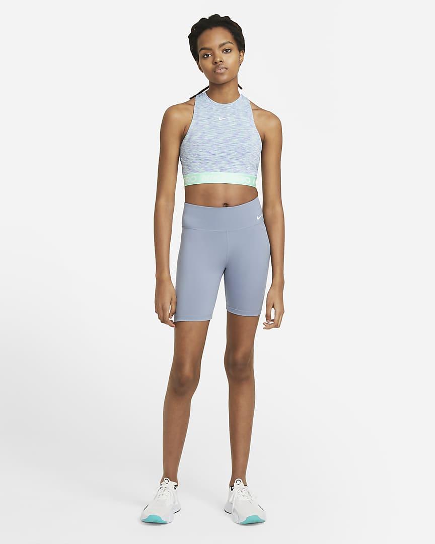 Nike Pro Women\'s Space-Dye Tank Sapphire/Green Glow/White