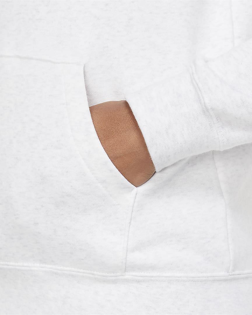 Nike Sportswear Essential Women\'s Fleece Pullover Hoodie Birch Heather/White/Black