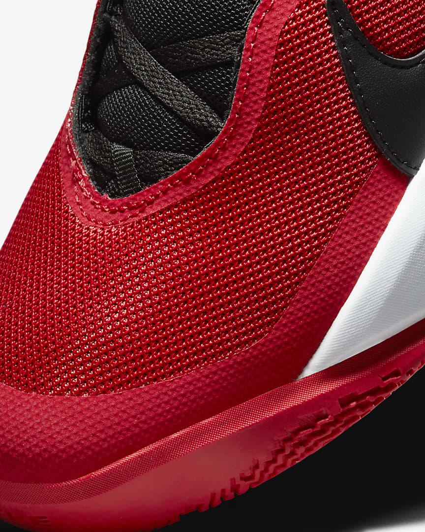Nike Team Hustle D 10 Big Kids\' Basketball Shoes University Red/White/Black