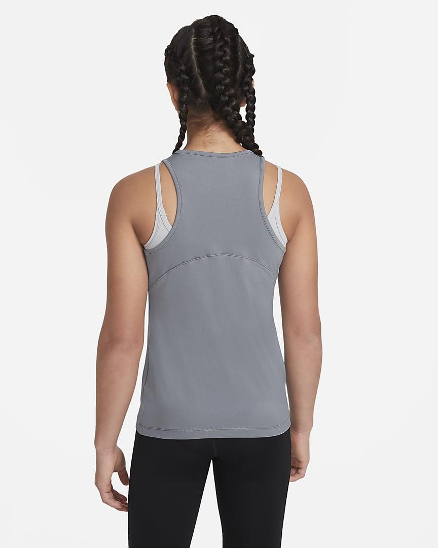 Nike Pro Big Kids\' (Girls\') Tank Smoke Grey/White