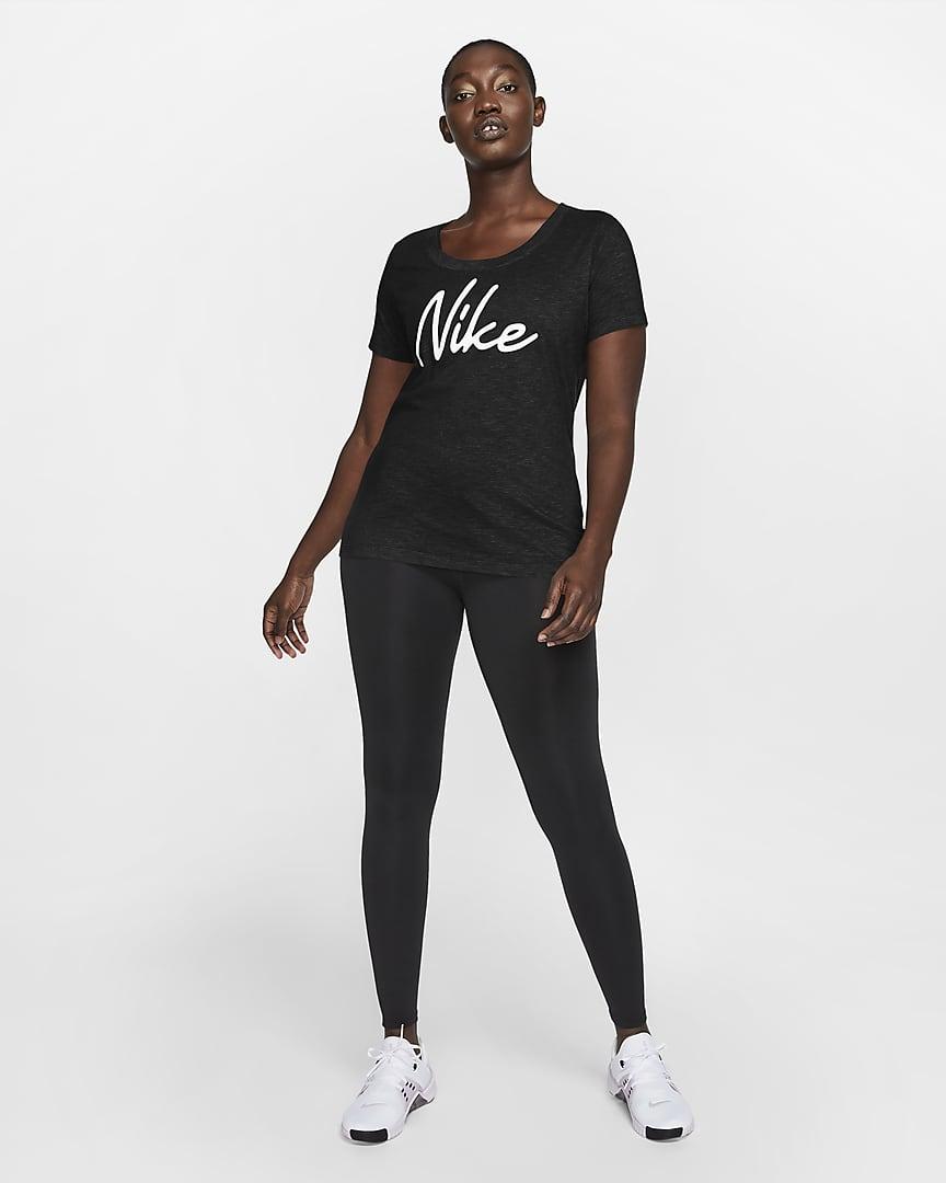 Nike Dri-FIT Women\'s Logo Training T-Shirt Black/Black/Heather/White