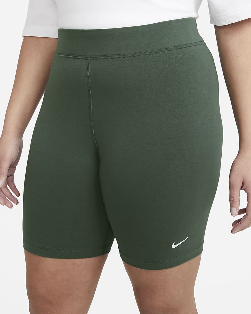 Nike Sportswear Essential Women\'s Mid-Rise Bike Shorts (Plus Size) Galactic Jade/White