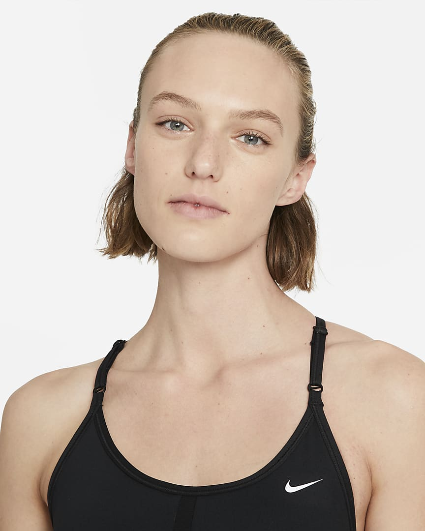 Nike Dri-FIT Indy Women\'s Light-Support Padded Longline Sports Bra Black/White