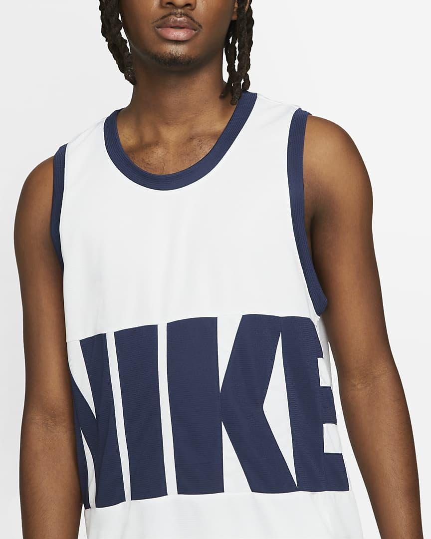 Nike Dri-FIT Men\'s Basketball Jersey White/White/Midnight Navy/Midnight Navy