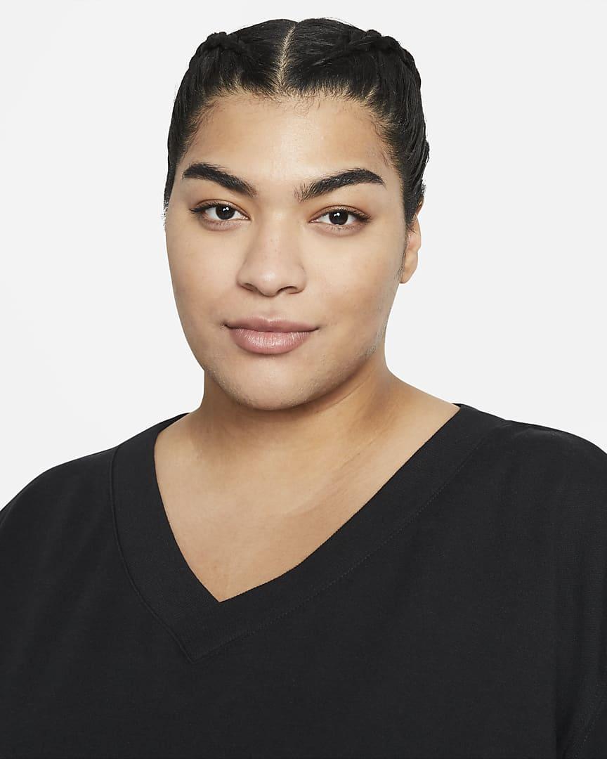 Nike Yoga Luxe Women\'s Fleece V-Neck Top (Plus Size) Black/Dark Smoke Grey