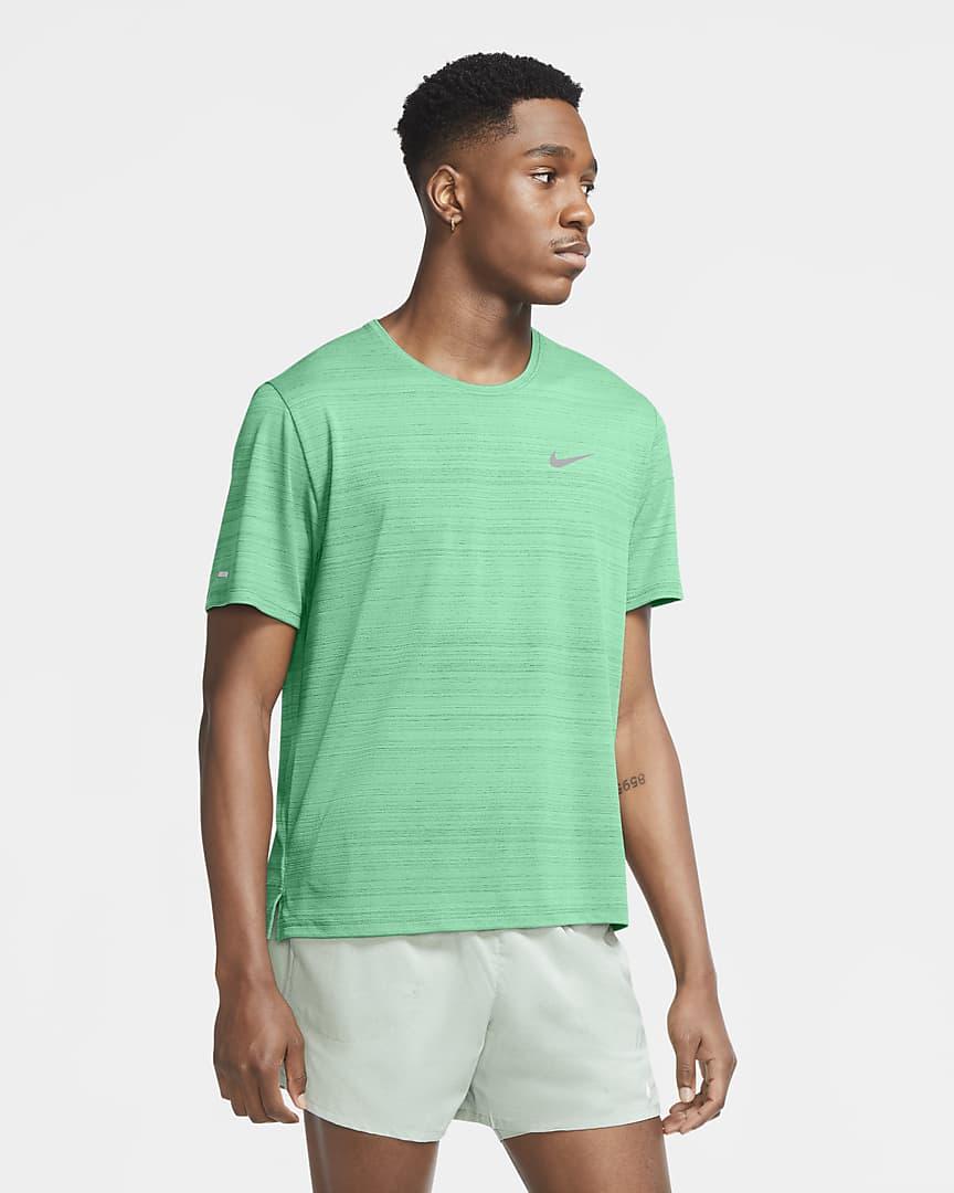 Nike Dri-FIT Miler Men\'s Running Top Green Glow