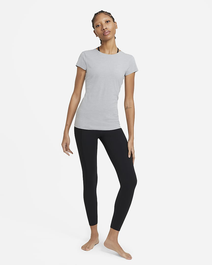 Nike Yoga Luxe Women\'s Short Sleeve Top Particle Grey/Heather/Platinum Tint