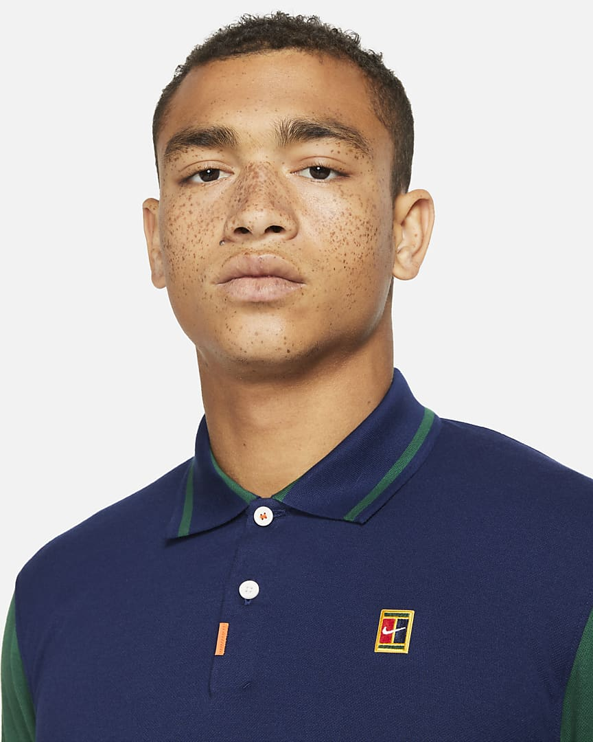The Nike Polo Men\'s Slim Fit Polo Binary Blue/Gorge Green