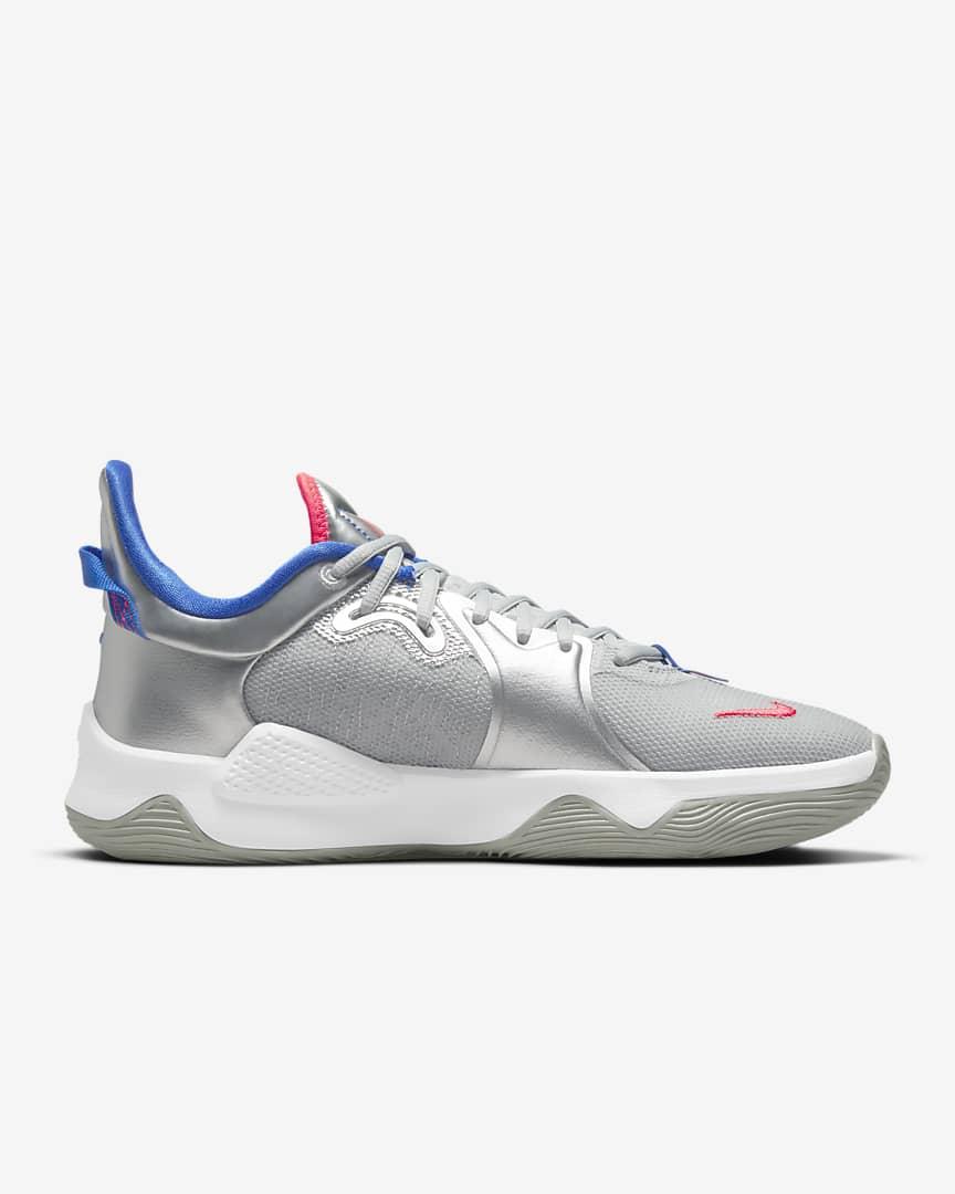 PG 5 Basketball Shoes Metallic Silver/Hyper Royal/Laser Crimson