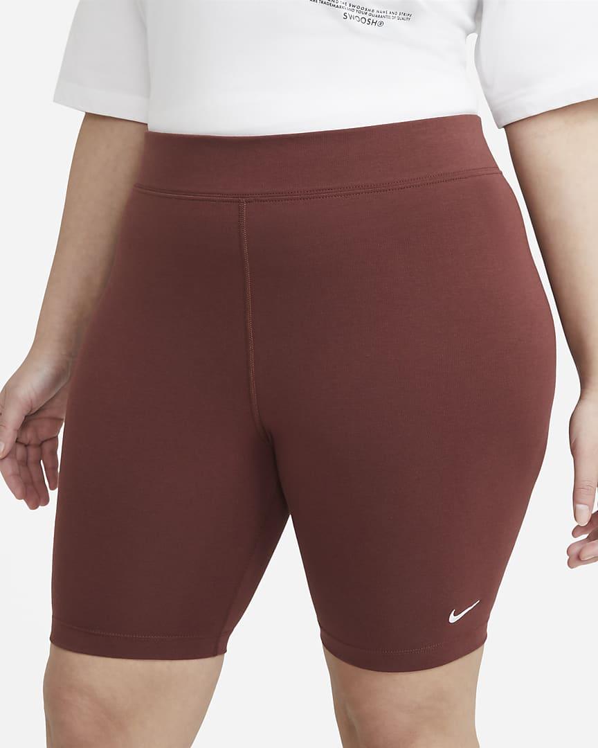 Nike Sportswear Essential Women\'s Mid-Rise Bike Shorts (Plus Size) Dark Pony/White