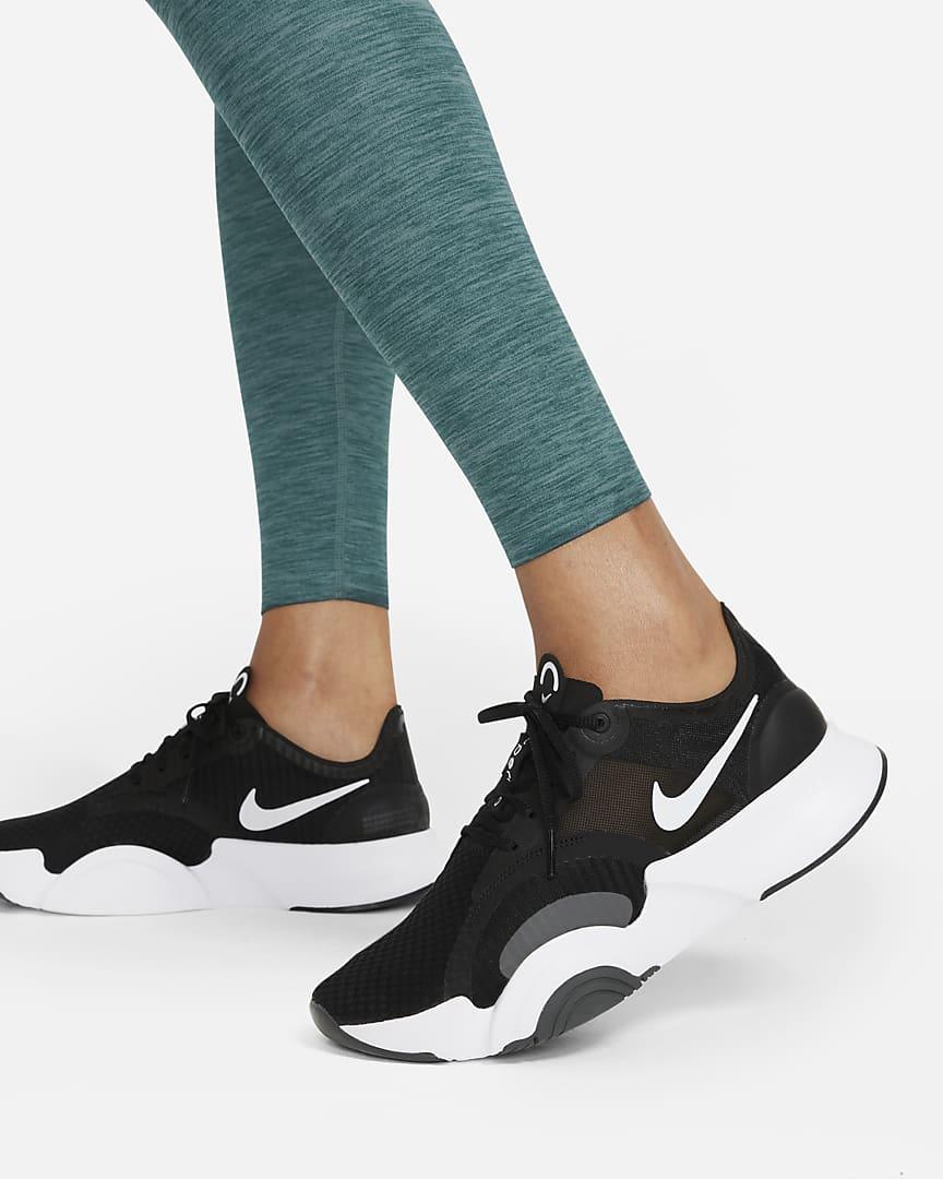 Nike One Luxe Women\'s Heathered Mid-Rise Leggings Dark Teal Green/Clear