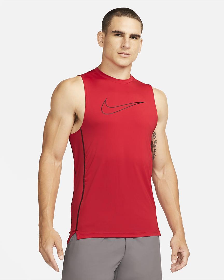 Nike Pro Dri-FIT Men\'s Slim Fit Sleeveless Top University Red/Black/Black