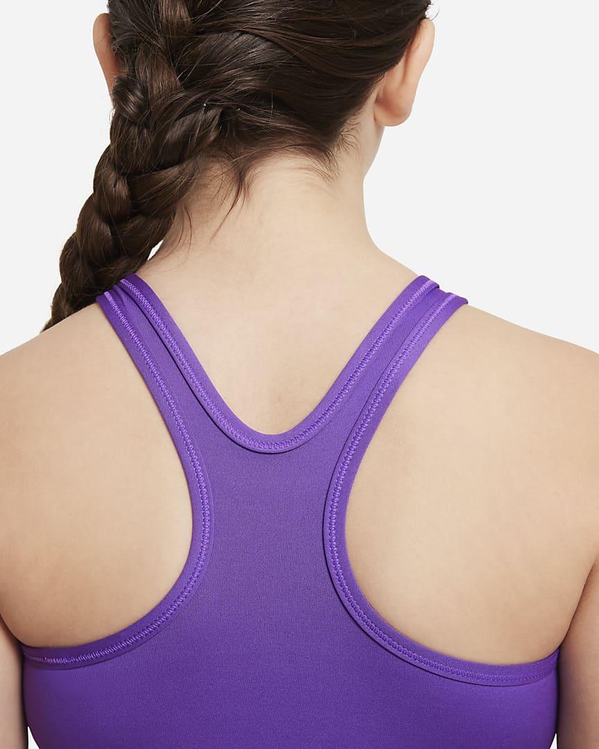 Nike Swoosh Big Kids\' (Girls\') Sports Bra (Extended Size) Wild Berry/White