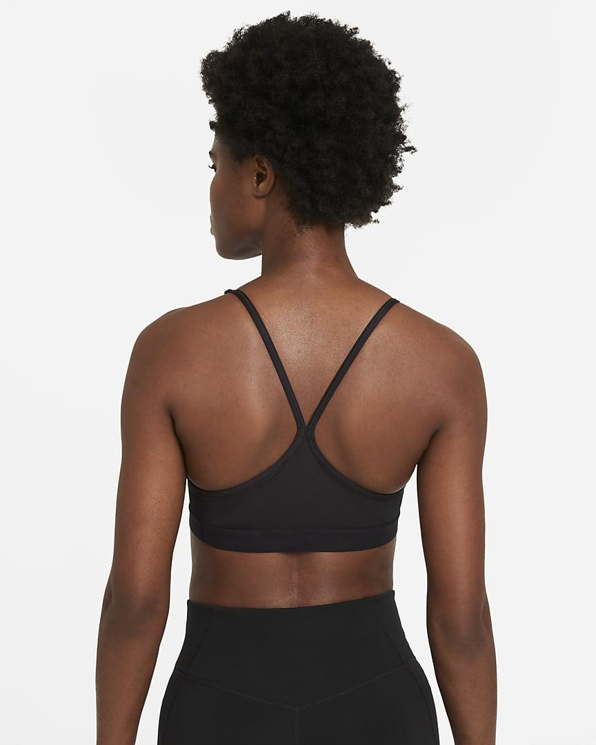 Nike Dri-FIT Indy Women\'s Light-Support Padded U-Neck Sports Bra Black/Black/White